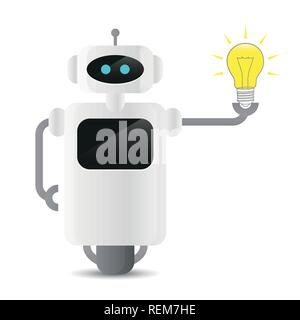 cute robot holding a light bulb technology idee concept vector illustration EPS10 Stock Photo