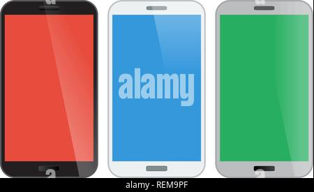Smartphone, mobile phone isolated, realistic vector illustration. - Stock Photo
