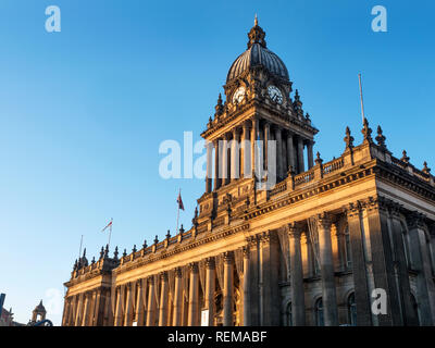 Fading winter afternoon light on the Town Hall in Leeds West Yorkshire England - Stock Photo