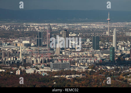 City panorama, aerial photograph. Frankfurt am Main, Germany - Stock Photo