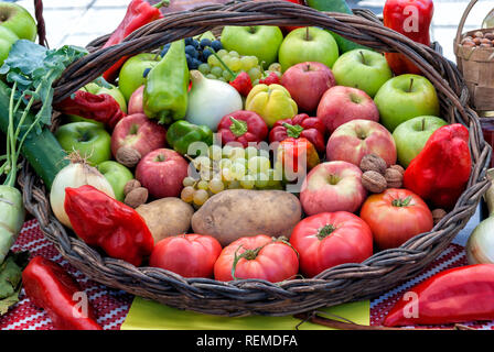 Fruits and vegetables in a basket; - Stock Photo