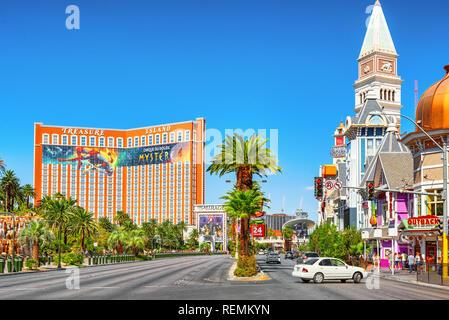 Las Vegas, Nevada, USA - September 16, 2018: Main street of Las Vegas is the Strip. - Stock Photo