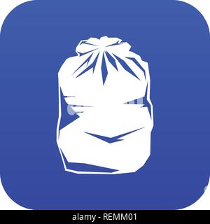 Black trash bag icon digital blue - Stock Photo