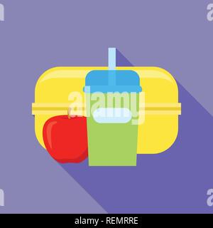 Plastic lunchbox icon, flat style - Stock Photo