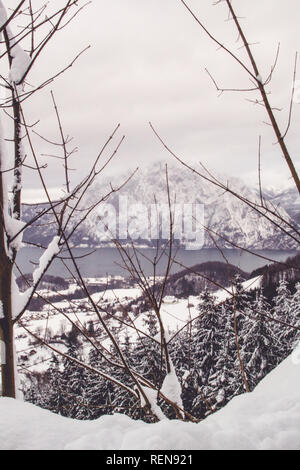 View from above Traunkirchen overlooking Traunsee Lake - Stock Photo