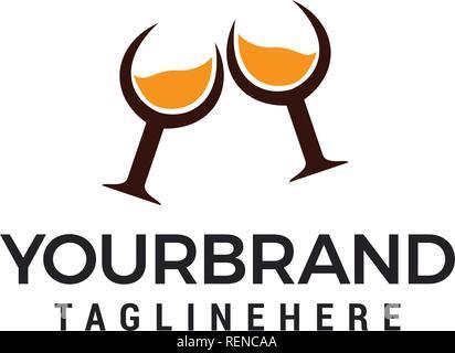 whiskey glass logo design template elements - Stock Photo