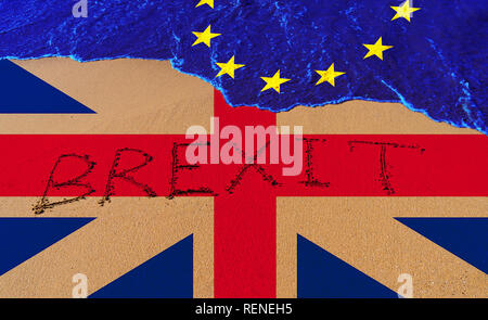 Handwrite text Brexit on sand coastline and wave with EU flag pattern and Great Britain flag. On referendum, voted to exit United Kingdom from EU know - Stock Photo