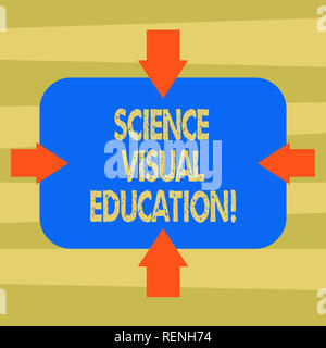 Text sign showing Science Visual Education. Conceptual photo Use infographic to understand ideas and concepts Arrows on Four Sides of Blank Rectangula - Stock Photo