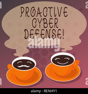 Word writing text Proactive Cyber Defense. Business concept for anticipation to oppose an attack involving computer Sets of Cup Saucer for His and Her - Stock Photo
