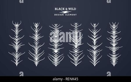 Set of abstract branches. Symmetrical composition from free form wavy lines. Vector design elements. - Stock Photo
