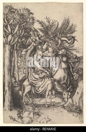 Rest on the Flight into Egypt. Artist: Martin Schongauer (German, Colmar ca. 1435/50-1491 Breisach). Dimensions: 9-15/16 x 6-5/8 in. Date: 15th century. Museum: Metropolitan Museum of Art, New York, USA. - Stock Photo