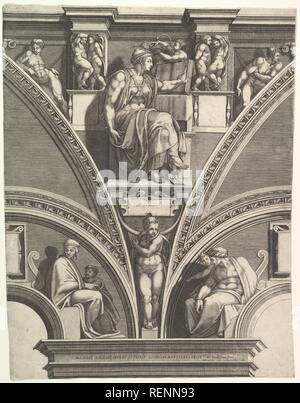 The Eritrean Sibyl; from the series of Prophets and Sibyls in the Sistine Chapel. Artist: After Michelangelo Buonarroti (Italian, Caprese 1475-1564 Rome); Giorgio Ghisi (Italian, Mantua ca. 1520-1582 Mantua). Dimensions: Sheet (Trimmed): 21 3/4 × 16 15/16 in. (55.3 × 43 cm). Publisher: Nicolaus van Aelst (Flemish, Brussels 1526-1613 Rome). Date: 1570-75. Museum: Metropolitan Museum of Art, New York, USA. - Stock Photo