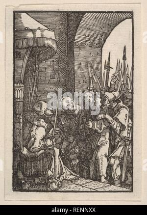 Christ Before Pilate, from The Fall and Salvation of Mankind Through the Life and Passion of Christ. Artist: Albrecht Altdorfer (German, Regensburg ca. 1480-1538 Regensburg). Dimensions: Sheet: 3 1/8 × 2 3/16 in. (7.9 × 5.5 cm). Date: ca. 1513. Museum: Metropolitan Museum of Art, New York, USA. - Stock Photo