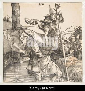 Saint Christopher. Artist: Albrecht Dürer (German, Nuremberg 1471-1528 Nuremberg). Dimensions: sheet: 8 3/8 x 8 3/8 in. (21.3 x 21.2 cm). Date: 1511. Museum: Metropolitan Museum of Art, New York, USA. - Stock Photo