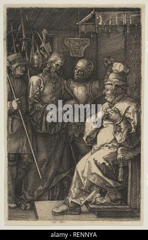 Christ before Caiaphas, from The Passion. Artist: Albrecht Dürer (German, Nuremberg 1471-1528 Nuremberg). Dimensions: Sheet: 4 3/4 × 3 1/16 in. (12 × 7.8 cm). Date: 1512. Museum: Metropolitan Museum of Art, New York, USA. - Stock Photo