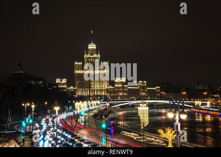 The skyscraper on Kotelnicheskaya embankment in Moscow Russia. The evening of 14 January 2019 - Stock Photo