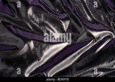 Gray black metalic silver polka dot fabric texture background - Stock Photo
