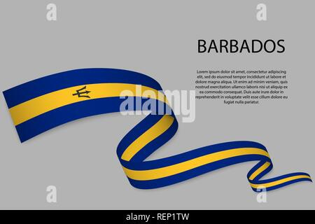 Waving ribbon or banner with flag of Barbados. Template for independence day poster design - Stock Photo