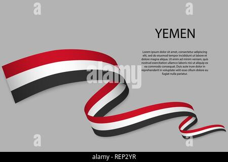 Waving ribbon or banner with flag of Yemen. Template for independence day poster design - Stock Photo