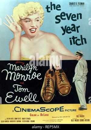 The Seven Year Itch Year : 1955 USA Director : Billy Wilder Tom Ewell , Marilyn Monroe Poster (USA) - Stock Photo