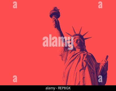 Bottom view of the famous Statue of Liberty, icon of freedom and of the United States. Red and purple duotone effect - Stock Photo