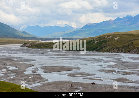 River in the Sary Jaz valley, Issyk Kul region, Kyrgyzstan - Stock Photo