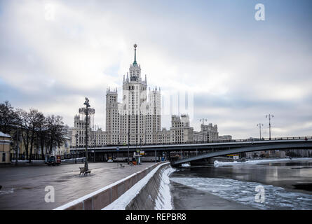 The skyscraper on Kotelnicheskaya embankment in Moscow Russia. Day 16 January 2019 - Stock Photo