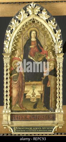 Virgin and Child Enthroned with Four Saints, Saints John the Baptist, Antony Abbot, Elizabeth of Hungary, a female saint. Dating: c. 1350 - c. 1399. Place: Florence. Measurements: h 105 cm × w 50 cm × d 7.8 cm. Museum: Rijksmuseum, Amsterdam. - Stock Photo