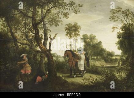 The Punished Robber. Dating: 1600 - 1647. Measurements: h 45.5 cm × w 65 cm; d 5 cm. Museum: Rijksmuseum, Amsterdam. Author: Sebastiaan Vrancx. - Stock Photo