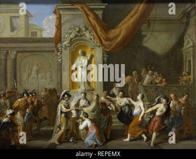 The Marriage of Alexander the Great and Roxane of Bactria. Dating: 1670 - 1733. Measurements: h 32 cm × w 41 cm. Museum: Rijksmuseum, Amsterdam. Author: Gerard Hoet (I). - Stock Photo