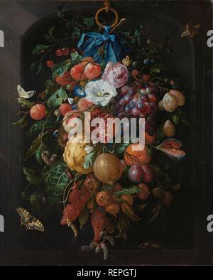 Festoon of Fruit and Flowers. Festoon of Fruits and Flowers. Dating: 1660 - 1670. Measurements: h 74 cm × w 60 cm. Museum: Rijksmuseum, Amsterdam. Author: Jan Davidsz. de Heem. - Stock Photo