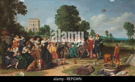 The Fête champêtre. Dating: 1627. Measurements: support: h 77.6 cm × w 135.7 cm. Museum: Rijksmuseum, Amsterdam. Author: Dirck Hals. HALS, DIRCK. - Stock Photo