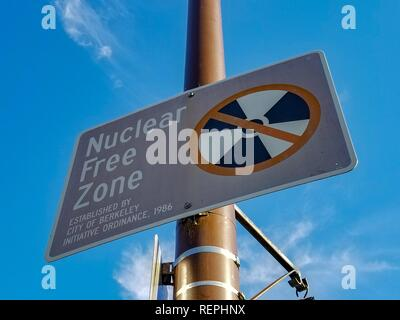 Close-up of sign at city limits of Berkeley, California designating the city as a Nuclear Free Zone, a symbolic designation meant to resist nuclear power and nuclear weapons, December 7, 2018. () - Stock Photo