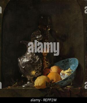 Still Life with a Silver Jug and a Porcelain Bowl. Still Life with Silver Ewer. Still Life with a Silver Jug. Dating: 1655 - 1660. Measurements: h 73.8 cm × w 65.2 cm. Museum: Rijksmuseum, Amsterdam. Author: WILLEM KALF. KALF, WILLEM. - Stock Photo