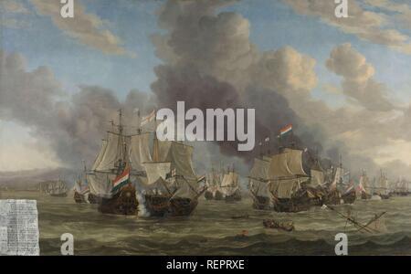 The Battle of Livorno. The Naval Battle near Livorno, 14 March 1653. Dating: 1653 - 1664. Measurements: h 142 cm × w 225 cm. Museum: Rijksmuseum, Amsterdam. Author: REINIER NOOMS. Reinier Zeeman. - Stock Photo
