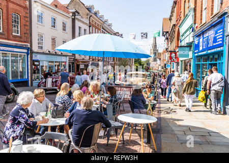 Crowds of sightseers in Westgate Street during the Gloucester Goes Retro Festival in August 2018, Gloucester, Gloucestershire UK - Stock Photo