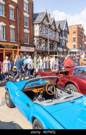 Classic cars on display in Southgate Street during the Gloucester Goes Retro Festival in August 2018, Gloucester, Gloucestershire UK - Stock Photo