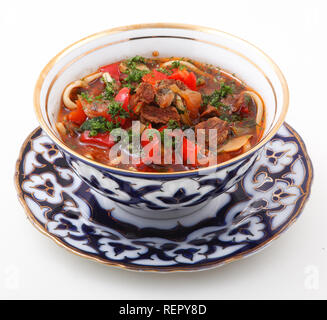 Laghman, a traditional dish of Central Asia - Stock Photo