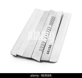 Sliced credit cards. Cutting credit card consumer debt. - Stock Photo