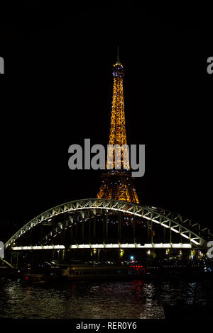 PARIS, FRANCE - NOVEMBER 9, 2018 - Tour Eiffel night illumination. Eiffel Tower is the most visited monument in France - Stock Photo