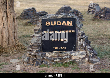Memorial plaque to Sudan, the  last male Northern White rhino which died in April 2018 at  Ol Pejeta Conservancy, Kenya - Stock Photo
