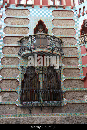 Casa Vicens, built from 1883 to 1885. First project of the architect Gaudí. Balcony and windows, street facade. Decorative iron gratings. - Stock Photo