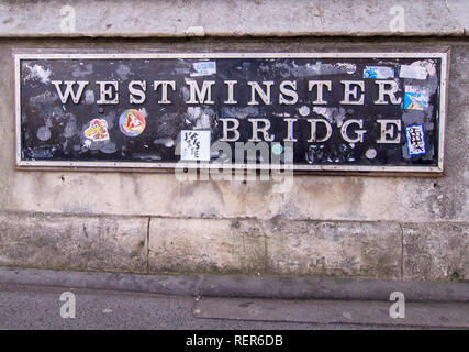 LONDON, ENGLAND- JANUARY 21st 2019: Westminster Bridge sign covered in stickers. - Stock Photo
