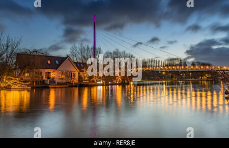House on Island River Thames and Christchurch Bridge, Reading Berkshire United Kingdom - Stock Photo