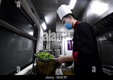 Beijing, China. 21st Jan, 2019. A cook prepares pot-planted vegetable aboard the 'Tangzhugudao' theme train which runs from Xining to Xigaze on the Qinghai-Tibet Railway, on Jan. 21, 2019. Credit: Zhang Long/Xinhua/Alamy Live News - Stock Photo