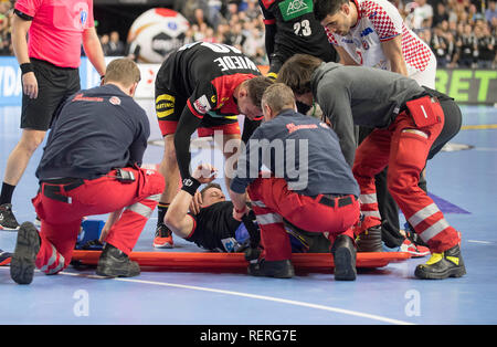 Martin STROBEL (GER) injured on ground, injury, Main round Group I, Croatia (CRO) - Germany (GER), on 21.01.2019 in Koeln / Germany. Handball World Cup 2019, from 10.01. - 27.01.2019 in Germany / Denmark. | usage worldwide - Stock Photo