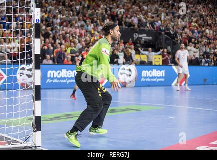 goalkeeper Silvio HEINEVETTER (GER) action. Main round Group I, Croatia (CRO) - Germany (GER) 21-22, at 21.01.2019 in Koeln / Germany. Handball World Cup 2019, from 10.01. - 27.01.2019 in Germany / Denmark. | usage worldwide - Stock Photo
