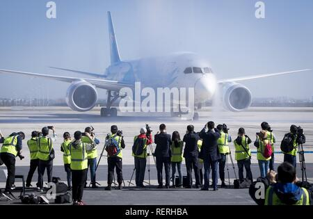 (190123) -- BEIJING, Jan. 23, 2019 (Xinhua) -- A Boeing 787 plane of China Southern Airlines lands at Tianhe International Airport in Wuhan, capital of central China's Hubei Province,  Oct. 27, 2018. China's civil aviation industry is accelerating its advance into the digital era, with major players sending clear signals of new opportunities worldwide. (Xinhua/Xiao Yijiu) - Stock Photo
