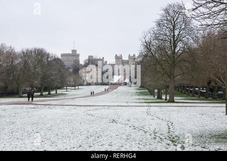 Windsor, UK. 23rd Jan, 2019. UK Weather: The year's first sprinkling of snow alongside the Long Walk in front of Windsor Castle in Windsor Great Park. Today's forecast for Berkshire is cold, with sunny spells and a risk of wintry showers. Motorists have been warned to take care because of hazardous driving conditions. Credit: Mark Kerrison/Alamy Live News - Stock Photo