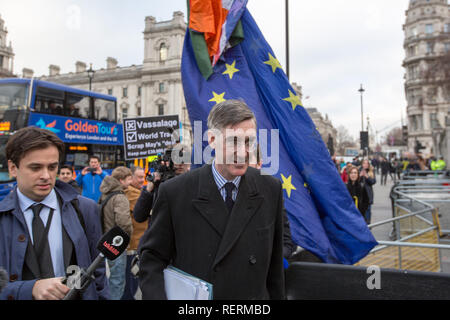London, UK. 23rd Jan 2019. Jacob Rees-Mogg Brexiteer and MP for North East Somerset walks into Parliament Credit: George Cracknell Wright/Alamy Live News - Stock Photo